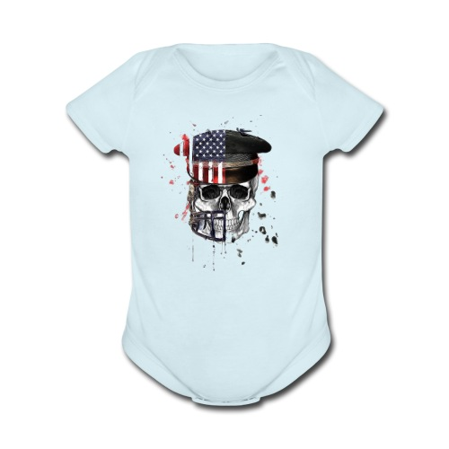 American Flag Military Cap Skull collection - Organic Short Sleeve Baby Bodysuit