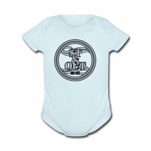 1St OutLogo Silver copy - Short Sleeve Baby Bodysuit