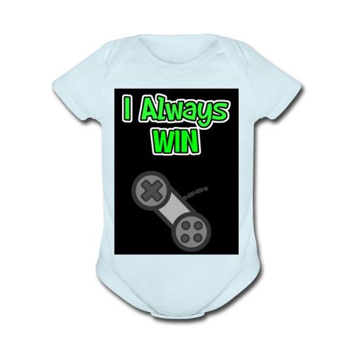 I always win - Organic Short Sleeve Baby Bodysuit