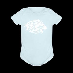 lion white - Short Sleeve Baby Bodysuit