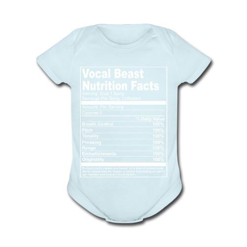 Vocal Nutrition White on Blk Streetwear - Organic Short Sleeve Baby Bodysuit