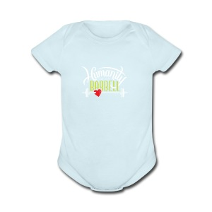Humanity Barbell (white and green), Red Heart - Short Sleeve Baby Bodysuit