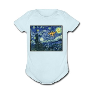 Starry Night Drone - Short Sleeve Baby Bodysuit