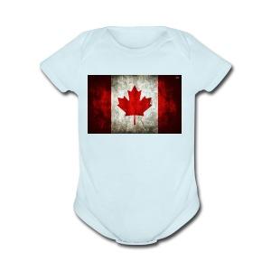 canada flag grunge - Short Sleeve Baby Bodysuit