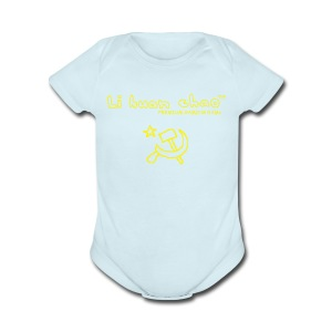 Full Li Huan Chao Logo Black+Yellow - Short Sleeve Baby Bodysuit