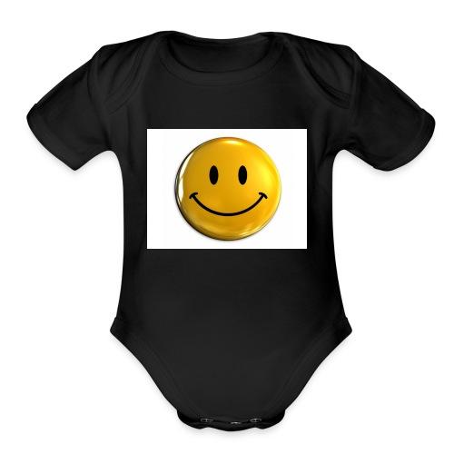 stay happy - Organic Short Sleeve Baby Bodysuit