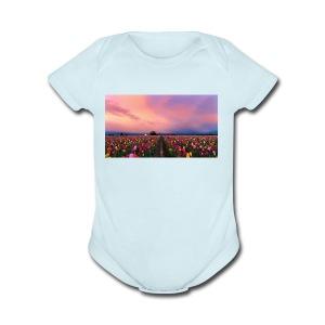 flowers - Short Sleeve Baby Bodysuit
