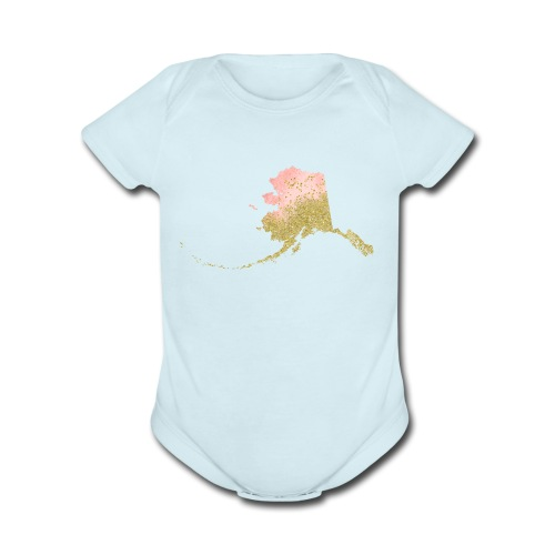 Watercolor Alaska Sate Peach & Gold - Organic Short Sleeve Baby Bodysuit
