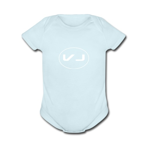 Vloggerjoe White circle lgo - Organic Short Sleeve Baby Bodysuit