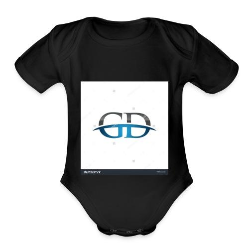 stock vector gd initial company blue swoosh logo 3 - Organic Short Sleeve Baby Bodysuit