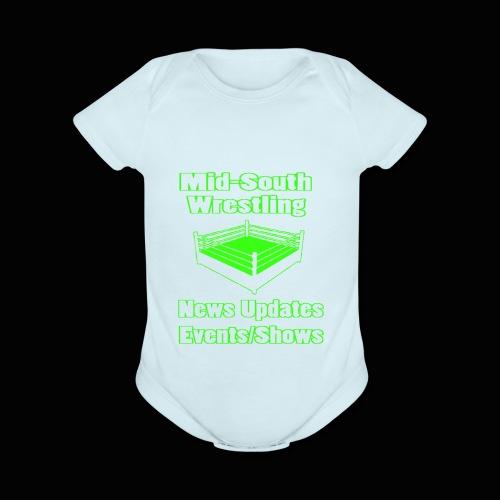 Mid-South Wrestling News Neon/Lime Green - Organic Short Sleeve Baby Bodysuit