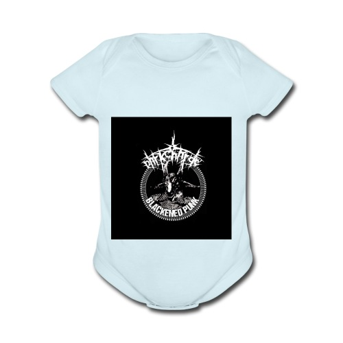 darkcharge button - Organic Short Sleeve Baby Bodysuit