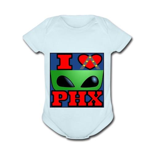 I Love Phoenix, Alien - Organic Short Sleeve Baby Bodysuit
