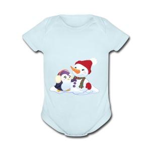 Penguin & Snowman Winter Friends - Short Sleeve Baby Bodysuit