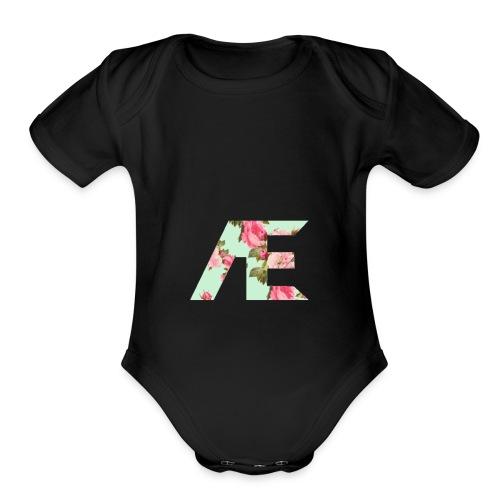 AE Floral design - Organic Short Sleeve Baby Bodysuit