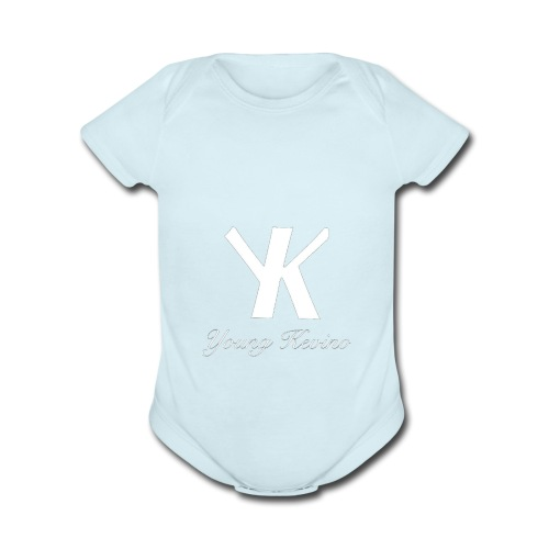Young Kevino Official Logo (White) - Organic Short Sleeve Baby Bodysuit