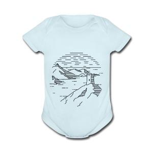 Line landscape - Sea - Short Sleeve Baby Bodysuit