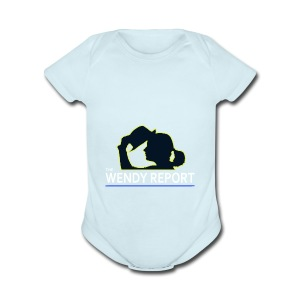 The Wendy Report Logo - White - Short Sleeve Baby Bodysuit