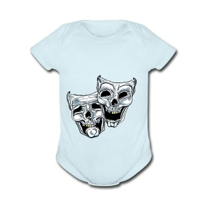 COMEDY TRAGEDY SKULLS - Short Sleeve Baby Bodysuit