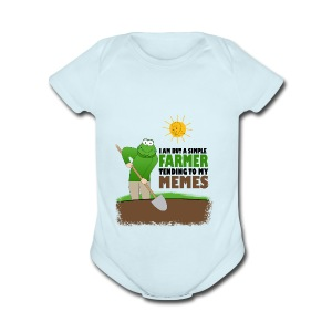 I AM BUT A SIMPLE FARMER TENDING TO MY MEMES - Short Sleeve Baby Bodysuit