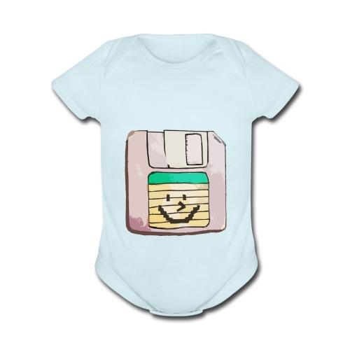 smiley floppy disk - Organic Short Sleeve Baby Bodysuit