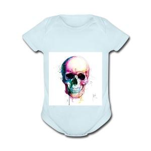 Colourful skull - Short Sleeve Baby Bodysuit