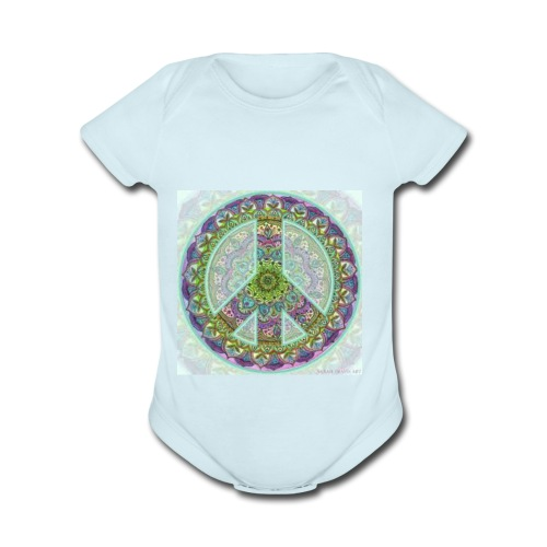 peace sign - Organic Short Sleeve Baby Bodysuit