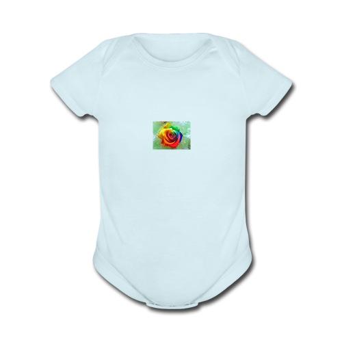 rainbow flower - Organic Short Sleeve Baby Bodysuit