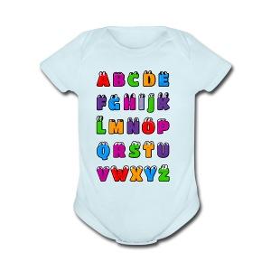 Kawaii Alphabet Letters ABC for children - Short Sleeve Baby Bodysuit
