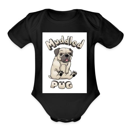 muddled-pug - Organic Short Sleeve Baby Bodysuit