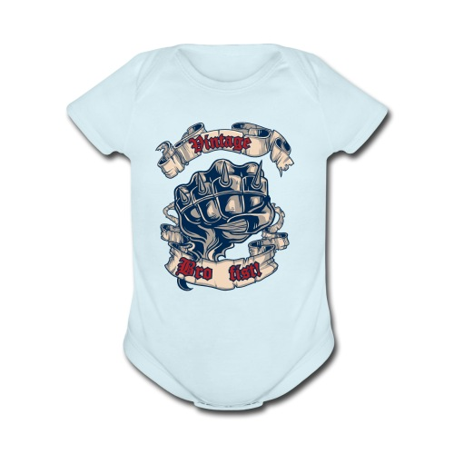 Vintage bro fist - Organic Short Sleeve Baby Bodysuit