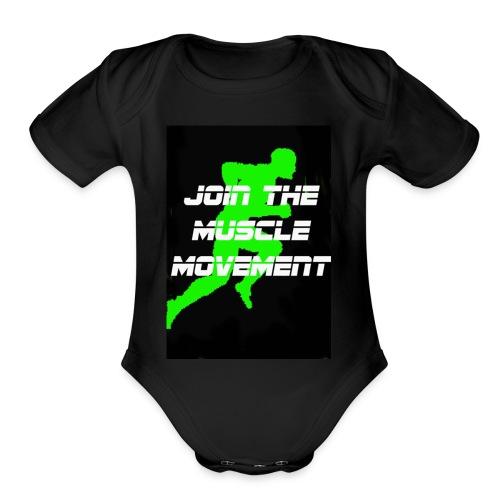 muscle movement - Organic Short Sleeve Baby Bodysuit