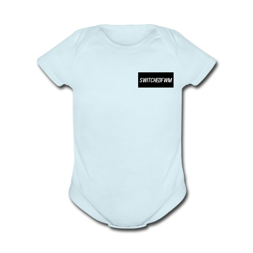 SwitchedFWM black and white letters - Organic Short Sleeve Baby Bodysuit