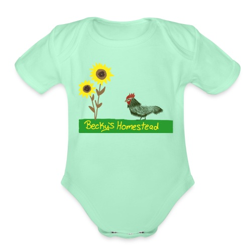 Chicken and Sunflowers - Organic Short Sleeve Baby Bodysuit
