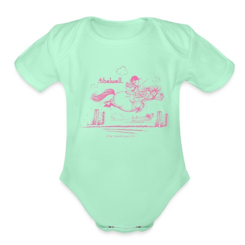 PonyJump Pink Thelwell Cartoon - Organic Short Sleeve Baby Bodysuit