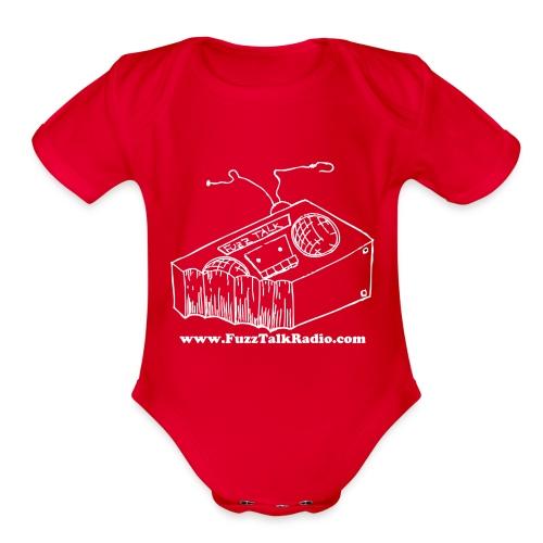 FTRLogoWhiteAddress - Organic Short Sleeve Baby Bodysuit