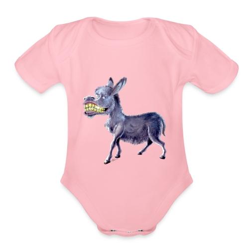 Funny Keep Smiling Donkey - Organic Short Sleeve Baby Bodysuit