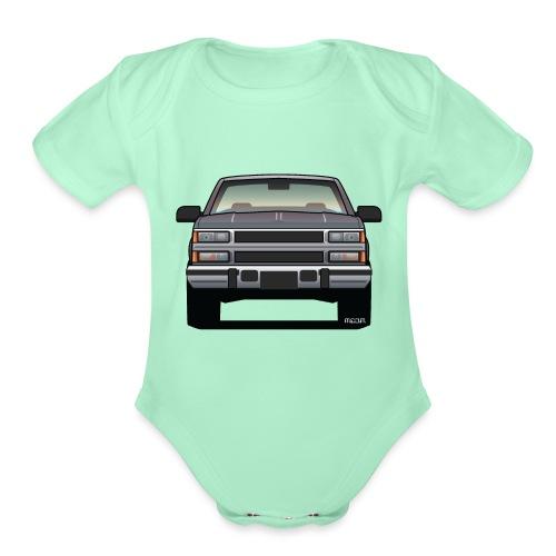 Design Icon: American Bowtie Silver Urban Truck - Organic Short Sleeve Baby Bodysuit