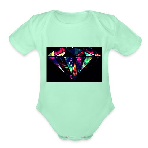 diamond-7 - Organic Short Sleeve Baby Bodysuit