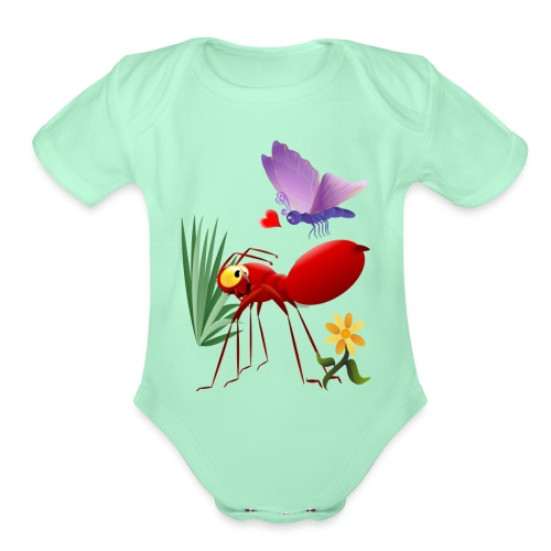 Fire Ant and Purple Butterfly - Organic Short Sleeve Baby Bodysuit