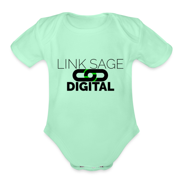 Link Sage Digital Logo with Text - Organic Short Sleeve Baby Bodysuit