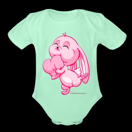 Pink Bunny - Organic Short Sleeve Baby Bodysuit