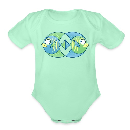 Tropical fishes remain in love despite conflicts - Organic Short Sleeve Baby Bodysuit