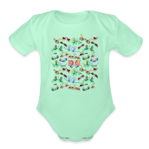 Funny insects falling in love in a pattern design - Organic Short Sleeve Baby Bodysuit
