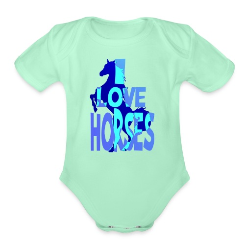 I Love Horses-blue - Organic Short Sleeve Baby Bodysuit