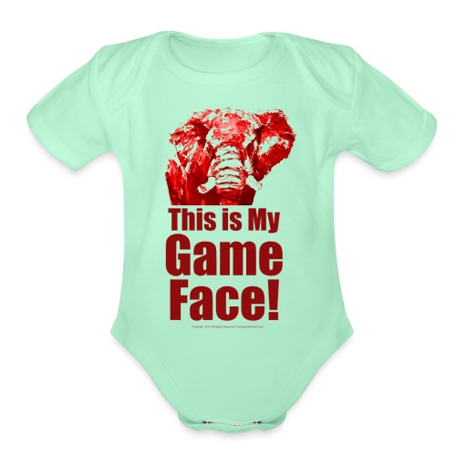 This my Game Face_revised - Organic Short Sleeve Baby Bodysuit