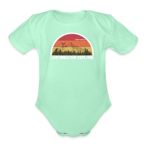 Live Breathe Explore Mountain - Organic Short Sleeve Baby Bodysuit