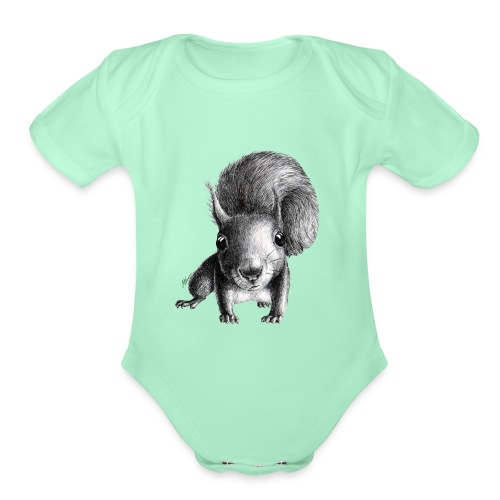 Cute Curious Squirrel - Organic Short Sleeve Baby Bodysuit