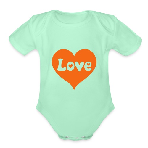 Love Heart - Organic Short Sleeve Baby Bodysuit