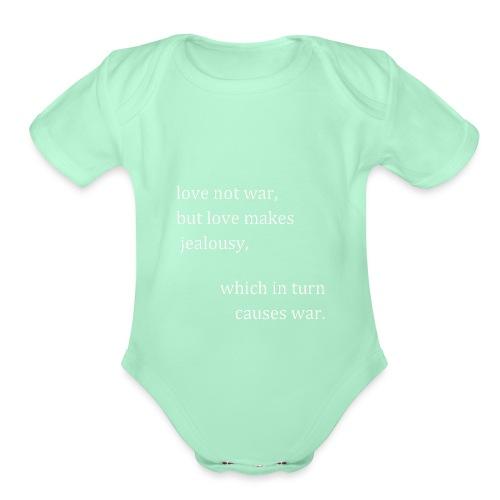 love not war (invert) - Organic Short Sleeve Baby Bodysuit
